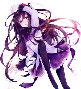 Homura from Madoka magica, her hair may look a little purpule-ish but cannonicly, her hair is black.