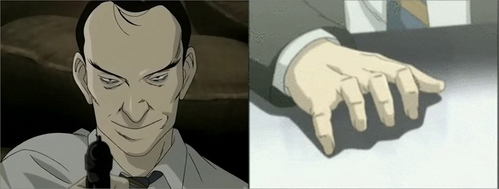 Inspector Heinrich Lunge, i don't know why but he always has to type with his finger, even if there is no keyboard any where. He saids it help him remember things. . Anime: Naoki Urasawa's MONSTER