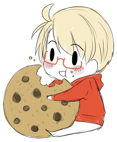 eating a giant cookie... looks yummy.