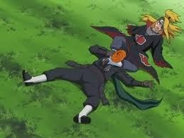 Deidara sufficates Tobi!! (cause he has no arms)