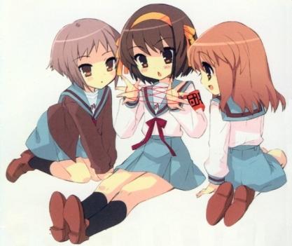 Haruhi, Mikuru and Yuki