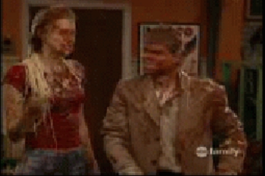 It's kinda blurry but Matthew is covered in spaghetti. lol