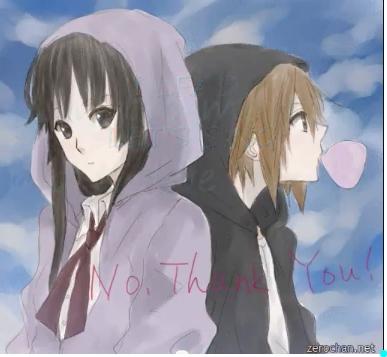 Mio Akiyama & Ritsu Tainaka. from anime: K-ON!! Info: They are wearing hood's and also they are Best Marafiki