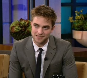 Here is mine of Robert Pattinson,sitting on a chair on 어치, 제이 Leno Show