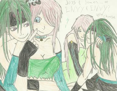 make an OC 4 ur fav. anime, then draw it with a character from the アニメ itself, like my character Joss/Envy and James/Envy