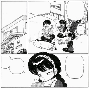 Ranma tricking Ryouga into thinking he's his long lost sister, Yoiko. Couldn't find any anime stills of it, but here's a Ranma 1/2 manga sequence.