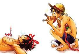 Luffy and Ace o.o XD I love Luffy more though, he's hot, badass, hilarious, and so fun to be around :3