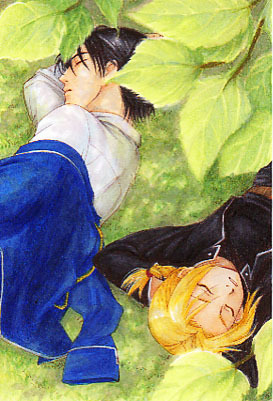 Roy and Ed sleeping under the trees. ~^_^~ They're so [b]beautiful. <3[/b]