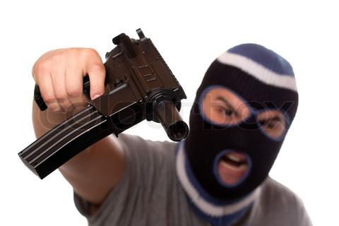 a gun and a ski mask a bullet proof vest