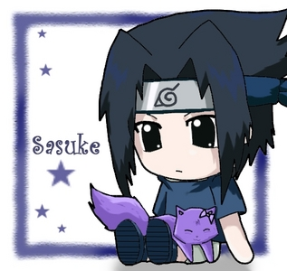 .... sasuke-kun? he's got deep blue hair. i lost my animê pics of him. will a chibi one work?