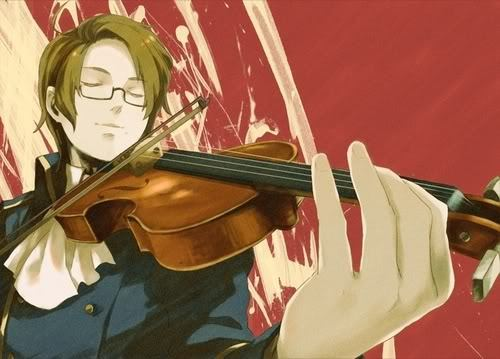 Austria from Hetalia plays violin and piano :)