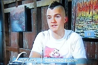 This is mine,of Orlando Bloom.When he was filming the LOTR movies,he shaved his head into a mohawk so his wig would fit better.He no longer has the mohawk.