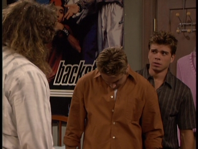 Matthew Lawrence and Will Friedle with the Back 通り, ストリート Boys poster behind him. (Will is facing down because he's trying to avoid looking at this monstrous guy).