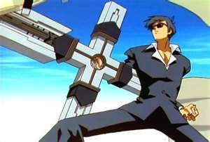 Wolfwood's huge attraversare, croce gun from Trigun.