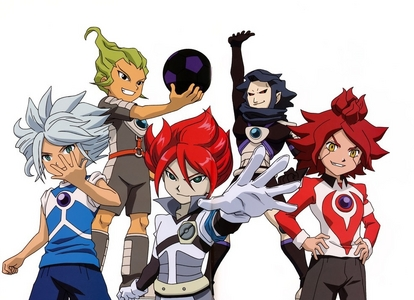 The self-proclaimed aliens from Inazuma Eleven known as Aliea Academy, formed into 5 teams: Gemini Storm Epsilon Prominence Diamond Dust The Genesis And then there's Chaos which was formed by the merging of Diamond Dust and Prominence. At the end of their arc it'z revealed tht they are orphan's who were brainwashed by he man who was suppose to look after them so he could get revenge for his own son's death. The pic is of the 5 captain's for the five teams.