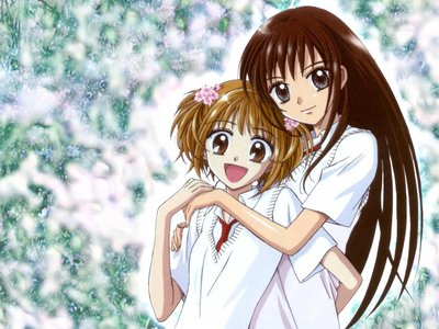 "The titolo of this wallpaper was ""Best Friends"". Awwww. Ayu Tateishi and Nina Sakura from Ultra Maniac."