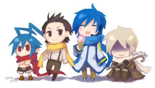 Don't know the first two but Kaito and Russia look alike somewhat.