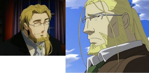 Oscar in Pandora Hearts and camioneta, van Hohenheim from Fullmetal Alchemist look very alike both have blonde hair in ponytails,both have glasses,both have facial hair on their chin..so they have a number of similarities!