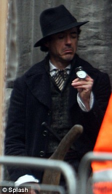 CX RDJ with pocket watch in Sherlock Holmes set! haha
