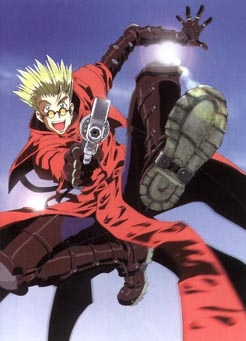 Vash from the anime Trigun with a gun!