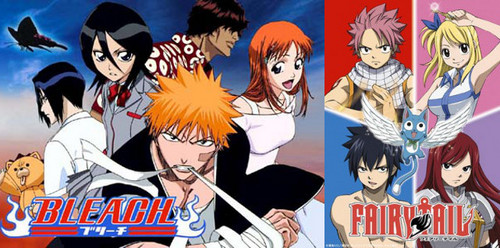 Bleach, Bleach, Bleach & oh, Fairy Tail. can't forget about that one. :) did i mention Bleach? when Bleach ended it was like the end of the civilisation. felt like i was going under but then FT was there & saved my sorry ass. i sometimes watch Bleach, 'cuz that's how awesome it is, i can [i]never[/i] stop thinking about it. and FT is just so awesome i countdown every single 日 from Saturday to Saturday. if FT was to end i would die for sure.