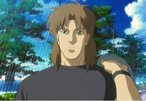 He does have a mullet but I'm not completely sure what anime he's from.