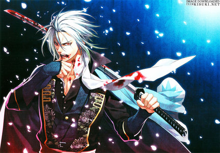The Rasetsu from hakuouki have white hair and red eyes, the character in the picture is called Toshizo Hijikata.