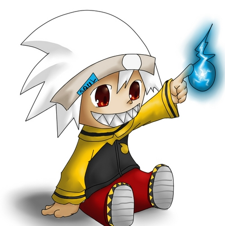 Well Soul-kun from Soul Eater covers the red eyes and his hair kind of white-ish too.