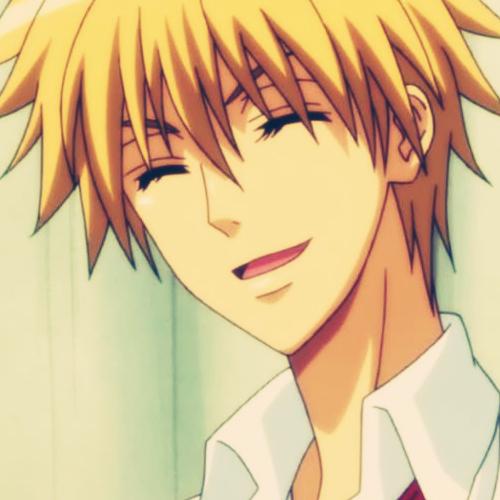 if i'm not mistaken... Takumi Usui from 'Maid Sama' has blonde hair!
