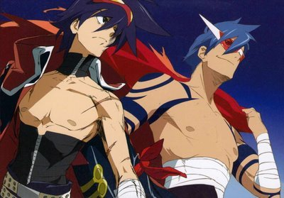 Kamina is the founder and original leader of Team Dai-Gurren, Simon is the current leader.