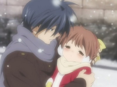 Ushio in Tomoya's arms