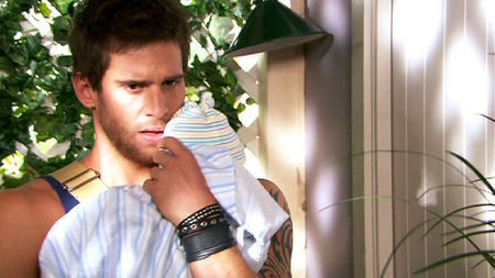 Dan Ewing as Heath who has just realised that Rocco has stopped breathing..
