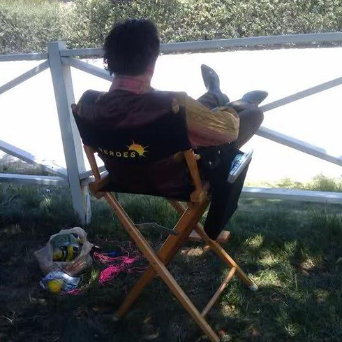Kneppy in his chair on set of Heroes