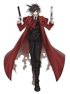 Alucard from Hellsing. he's always in red. if he's not, he's covered in his enemies blood. >XD i Любовь this bad A$$ vampire!