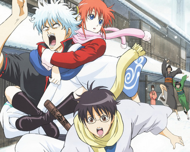 Gintama! It's definitely funny and there are fighting scene too.