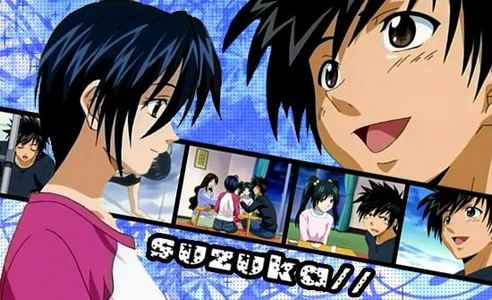Suzuka is a romantic comedy shonen anime/manga. Its about a guy whose romantic interest is on the track team. It's one of the few romance shows for guys that doesn't devolve into a harem. Some other ones I can think of that actually involve a steady relationship are Ah! My Goddess, Ai Yori Aoshi, and Psychic Academy.