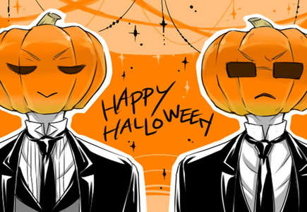 I am so predictable. Sebastian and Claude as Jack-O-Lanterns.