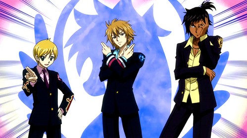 The Trimens of the Blue Pegasus guild in Fairy Tail are supposedly handsome (I'll let you be the judge if they actually are). I'll leave Ichiya out of the picture.