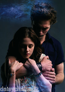 Mine is of Kristen Stewart,Robert Pattinson's Twilight leading lady(on and off screen).This is a promotional image of them from Twilight in 2008.