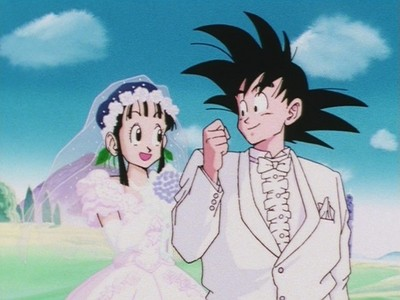 Гоку and ChiChi in Dragon Ball.