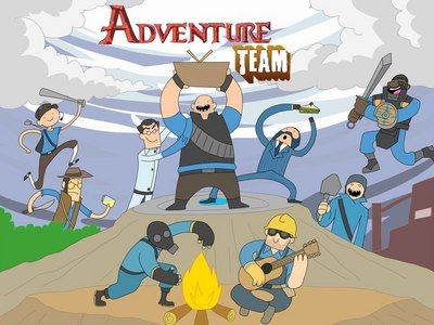 Adventure Team! C'mon grab your hats We'll go to very, distant maps With Scout the Scout And Heavy the Heavy The fun will never end It's Adventure Team!