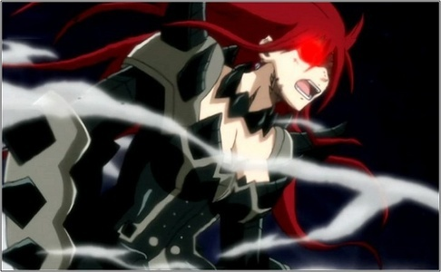 The Blackwing armor of Erza! But on this Image she is with red eyes! WHY???