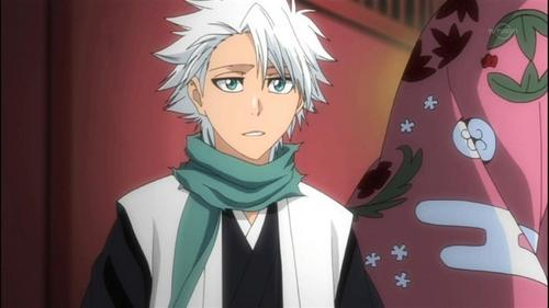 TOSHIRO HITSUGAYA FROM BLEACH. HE HAS WHITE HAIR AND PRETTY чирок EYES!!! HE IS AWSOME AND SEXY;)