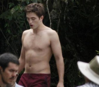 here is mine of Robert Pattinson shirtless in between takes from filming Breaking Dawn part 1