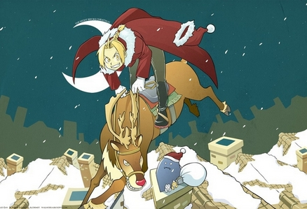 All righty! here's a Fullmetal Alchemist picture that is both related to winter and Christmas!
