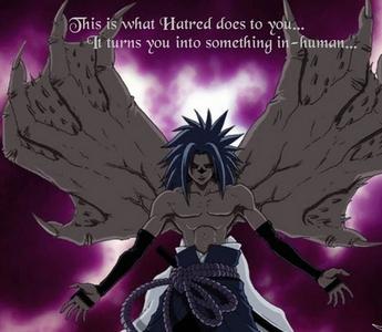 Well here's Sasuke-kun's demon form from Naruto..if it counts.