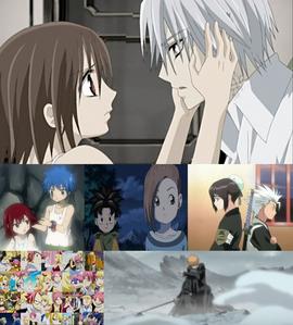 these r all my favs Yuuki x Zero (Vampire Knight) JelZa (Fairy Tail) Shu x Kluke (Blue Dragon) HitsuHina (Bleach) NaLu (Fairy Tail) IchiRuki (Bleach)
