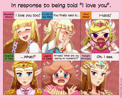 These were pretty much the responses I thought would happen.Though I was sure Ocarina of Time Zelda would return the feelings...oh well,its cute and I upendo Zelda x Link in Skyward Sword!