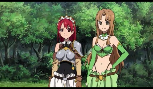 Cecily from the Sacred Blacksmith has hot armor and Aria has a hot/cute costume.