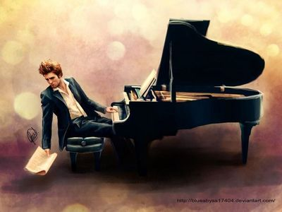 Robert Pattinson on his पियानो